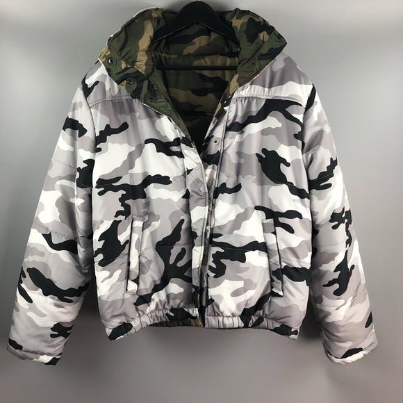 463c612075b97 Forever 21 Jackets & Coats | Reversible Camo Print Puffer Jacket ...